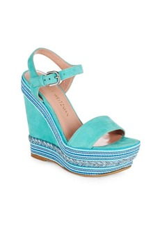 Stuart Weitzman Single Multicolor Suede Espadrille Wedge Sandals