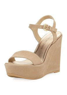 Stuart Weitzman Single Suede Wedge Sandal