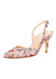 Stuart Weitzman Sleek Embroidered Slingback Pump