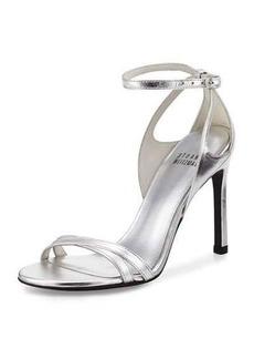 Stuart Weitzman Speedy Metallic Ankle-Wrap Sandal