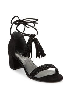 Stuart Weitzman Spring Lace-Up Suede Sandals