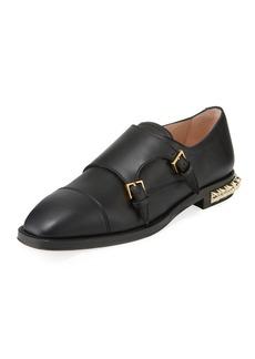 Stuart Weitzman Studdley Double-Monk Loafer with Studded Heel