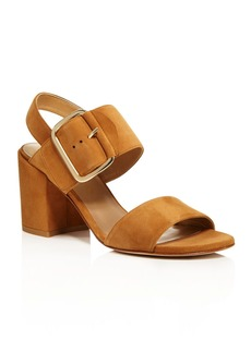 Stuart Weitzman Suede Buckled Slingback Block Heel City Sandals