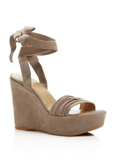 Stuart Weitzman Swifty Ankle Wrap Platform Wedge Sandals