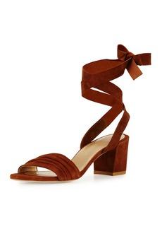 Stuart Weitzman Swifty Suede Ankle-Wrap Sandal