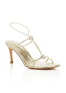 Stuart Weitzman Teehee Metallic Leather and Swarovksi Crystal T Strap Sandals