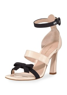 Stuart Weitzman Ally Three-Band Two-Tone Gloss Leather Sandals