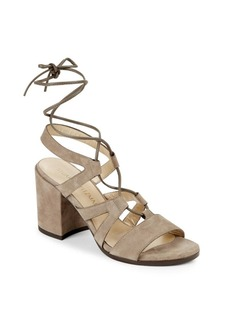 Stuart Weitzman Tiegirlbingo Suede Lace-Up Block Heel Sandals