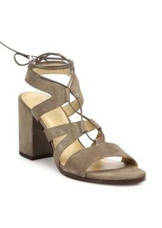 Stuart Weitzman Tiegirlbingo Suede Lace-Up Block-Heel Sandals