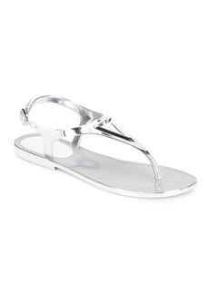 Stuart Weitzman Trifecta Metallic Jelly Thong Sandals