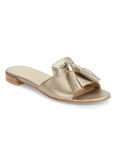 Stuart Weitzman Two-Tassels Leather Slide Sandal