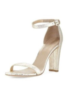 Stuart Weitzman Walkway Foil Napa Ankle-Wrap Sandal