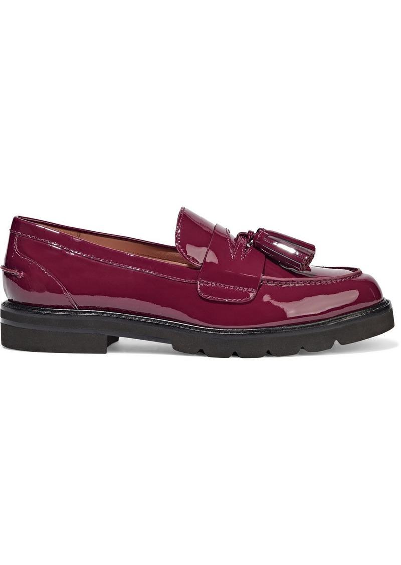 Stuart Weitzman Woman Adrina Tasseled Patent-leather Loafers Plum