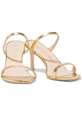 Stuart Weitzman Woman Aleena 75 Metallic Snake-effect Leather Sandals Gold