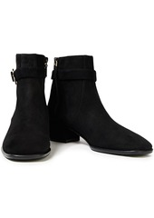 Stuart Weitzman Woman Bel Buckled Suede Ankle Boots Black
