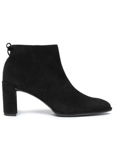 Stuart Weitzman Woman Bow-detailed Suede Ankle Boots Black
