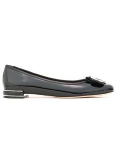 Stuart Weitzman Woman Buckle-detailed Patent-leather Ballet Flats Black