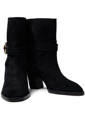 Stuart Weitzman Woman Virgo Buckled Suede Ankle Boots Black