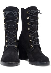 Stuart Weitzman Woman Cassey Lace-up Suede Ankle Boots Black