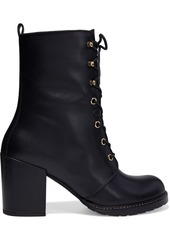 Stuart Weitzman Woman Cassey Lace-up Textured-leather Ankle Boots Black