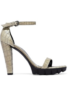 Stuart Weitzman Woman Croc-effect Leather Platform Sandals Sage Green