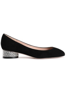 Stuart Weitzman Woman Crystal-embellished Suede Pumps Black