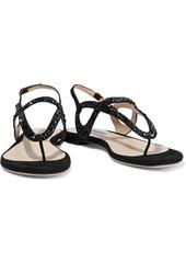 Stuart Weitzman Woman Crystal-embellished Suede Slingback Sandals Black