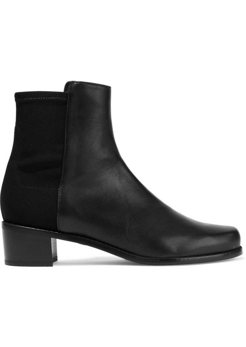 Stuart Weitzman Woman Easy On Leather And Neoprene  Ankle Boots Black