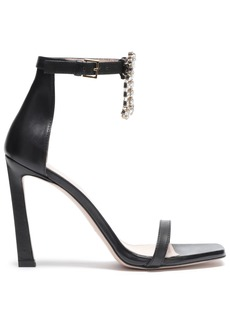 Stuart Weitzman Woman Embellished Cutout Leather Sandals Black