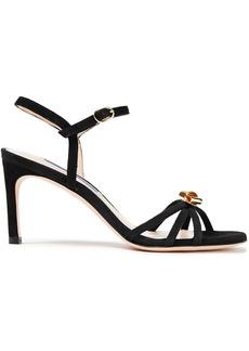 Stuart Weitzman Woman Embellished Suede Sandals Black