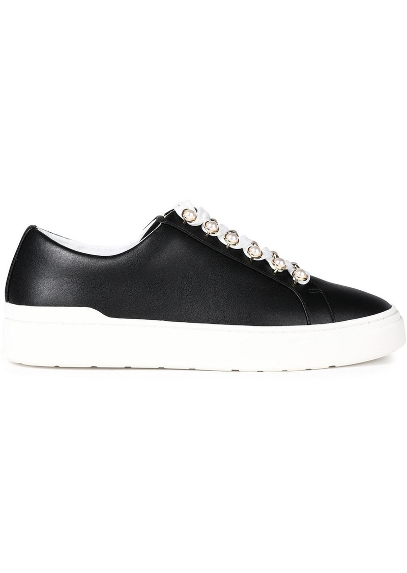 Stuart Weitzman Woman Excelsa Embellished Leather Sneakers Black