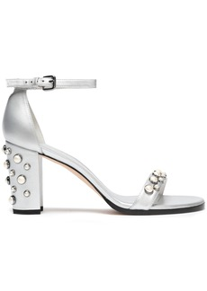Stuart Weitzman Woman Faux Pearl-embellished Metallic Leather Sandals Silver