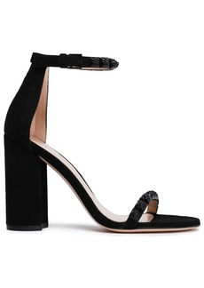 Stuart Weitzman Woman Floral-appliquéd Suede Sandals Black