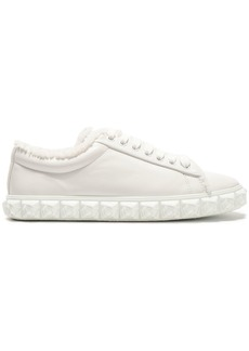 Stuart Weitzman Woman Fringe-trimmed Leather Sneakers Off-white
