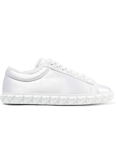 Stuart Weitzman Woman Fringe-trimmed Satin Sneakers White
