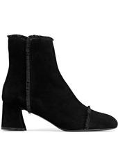 Stuart Weitzman Woman Fringe-trimmed Suede Ankle Boots Black