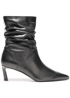 Stuart Weitzman Woman Gathered Leather Ankle Boots Black