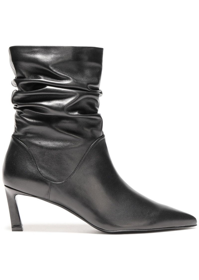 Stuart Weitzman Woman Demi Gathered Leather Ankle Boots Black