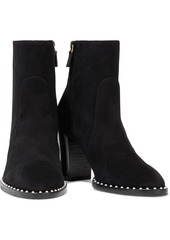 Stuart Weitzman Woman Kailee Faux Pearl-embellished Suede Ankle Boots Black