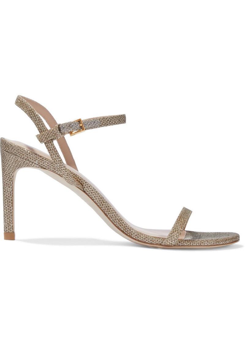 Stuart Weitzman Woman Kassidy Textured-lamé Sandals Platinum