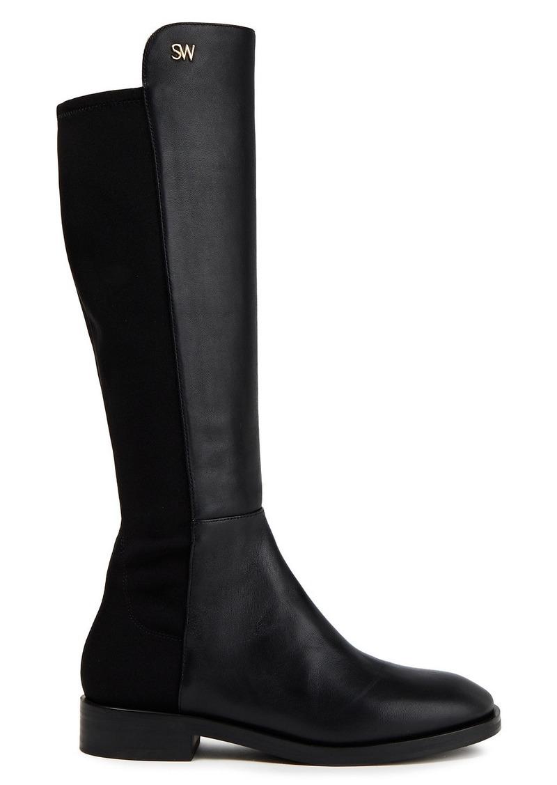Stuart Weitzman Woman Keelan Leather And Neoprene Knee Boots Black