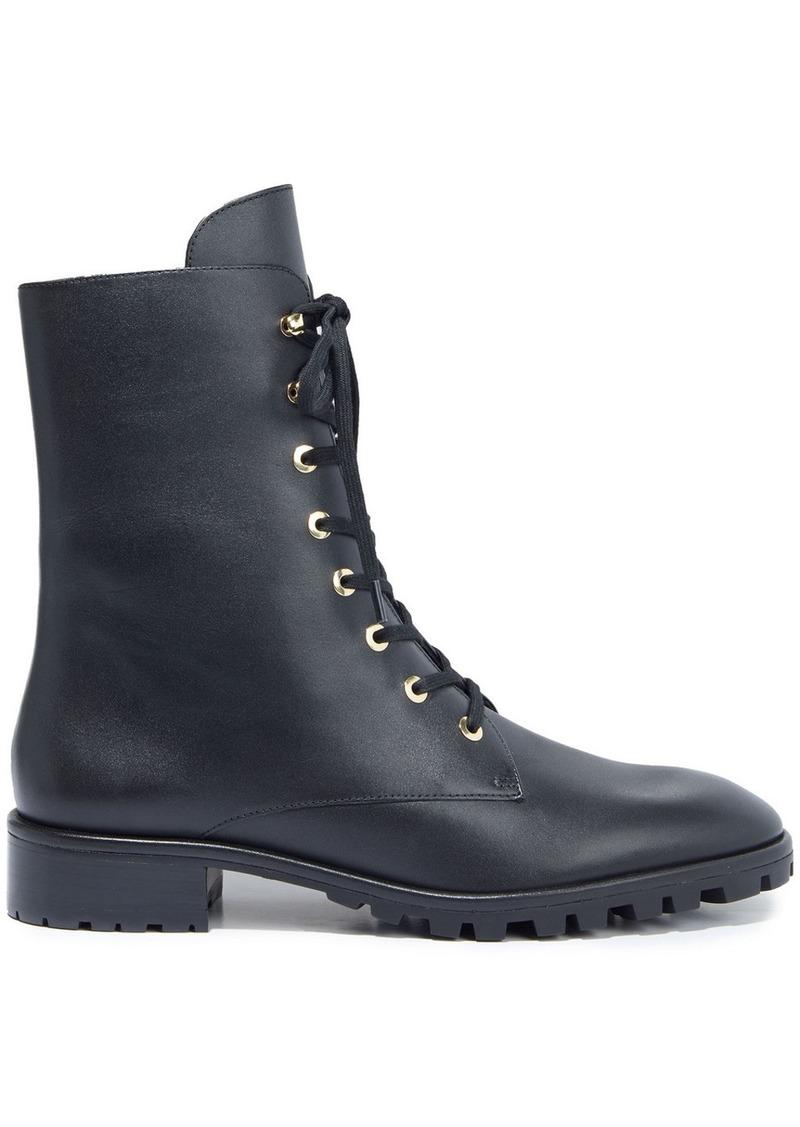 Stuart Weitzman Woman Laine Leather Combat Boots Black
