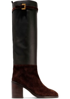 Stuart Weitzman Woman Leather And Suede Knee Boots Chocolate