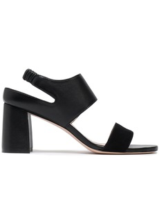 Stuart Weitzman Woman Leather And Suede Slingback Sandals Black