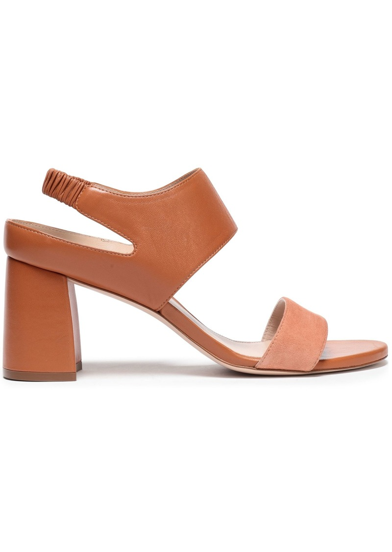 Stuart Weitzman Woman Leather And Suede Slingback Sandals Tan