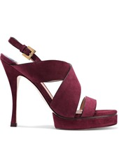 Stuart Weitzman Woman Leather Platform Sandals Grape