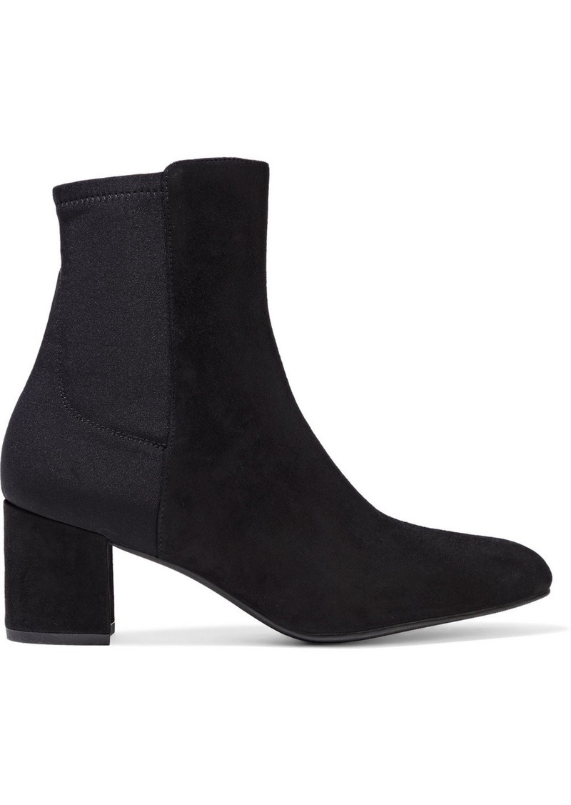 Stuart Weitzman Woman Marysol Suede And Neoprene Ankle Boots Black