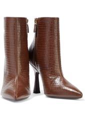 Stuart Weitzman Woman Melena Croc-effect Leather Ankle Boots Brown