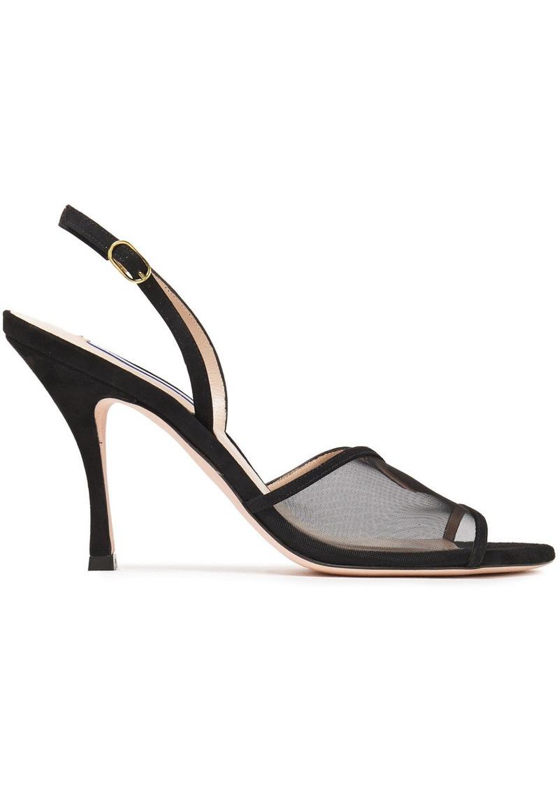 Stuart Weitzman Woman Mesha 95 Suede And Mesh Slingback Sandals Black