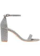 Stuart Weitzman Woman Nearlynude Textured-lamé Sandals Silver